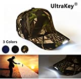 glow in the dark can holder - UltraKey Hands Free LED Baseball Cap Light Glow Bright Women Men Sport Hat Dark For Outdoor Jogging Breathable Snapback Hats Hip Hop Party Holiday (Camouflage)