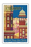 Pakistan - Wazir Khan's Mosque - Lahore, Pakistan - Muslim Architecture - Vintage World Travel Poster by Institute of Art & Design c.1950s - Master Art Print - 12in x 18in