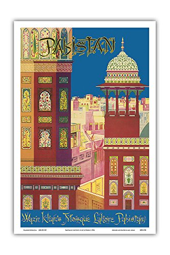 Pakistan - Wazir Khan's Mosque - Lahore, Pakistan - Muslim Architecture - Vintage World Travel Poster by Institute of Art & Design c.1950s - Master Art Print - 12in x 18in by Pacifica Island Art