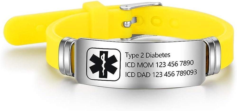 Personalized Medical Alert Bracelets Adjustable Waterproof Sport Emergency ID Bracelets for Men Women Boy Girl
