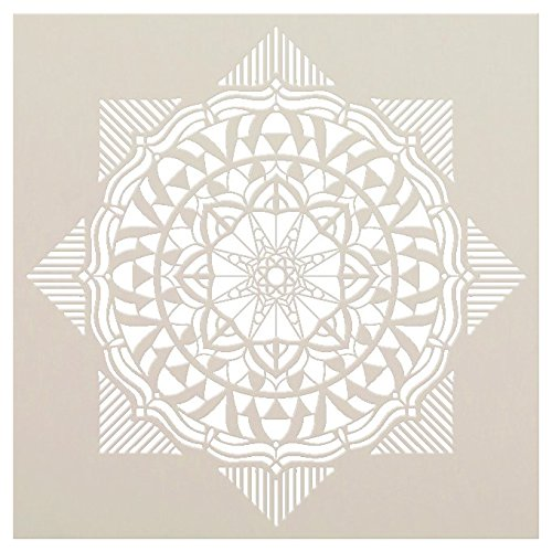 Mandala Geometric Stencil by StudioR12 | Reusable Mylar Template | Paint Wood Signs - Fabric | Craft Rustic Bohemian Home Decor | DIY Vintage Floral Pattern Wall Art | Select Size - Small - XLG -