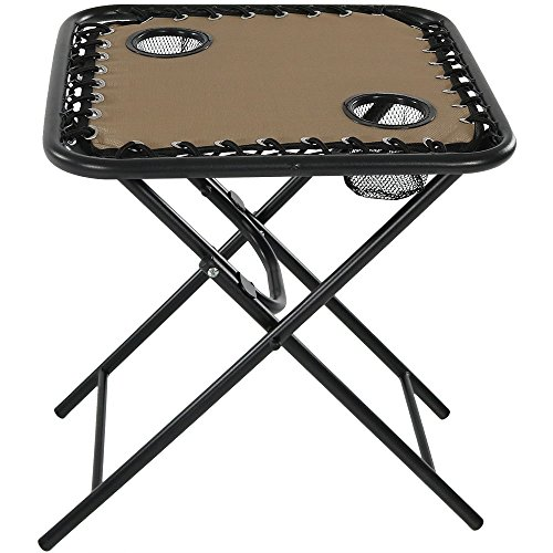Sunnydaze Outdoor Folding Sling Side Table with Mesh Cup Holders, (Mesh Patio Tables)