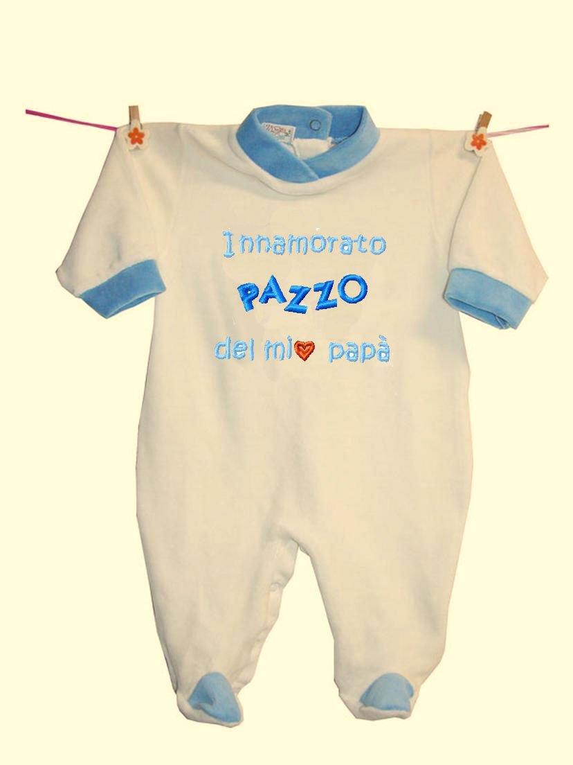 Zigozago - Tutina INNAMORATO PAZZO DEL PAPA'  in ciniglia di cotone; Taglia: 0 mesi; Colore: Azzurro
