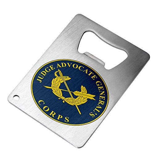 Bottle Opener – Stainless Steel – Fits in wallet – US Army Judge Advocate General (JAG), branch plaque