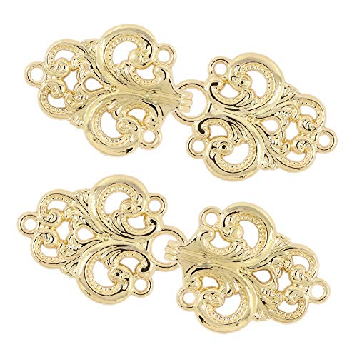 Bezelry 4 Pairs Swirl Flower Cape or Cloak Clasp Fasteners. 65mm x 28mm Fastened. Sew On Hooks and Eyes Cardigan Clip (Shiny Gold) (Princess Sew Dress)