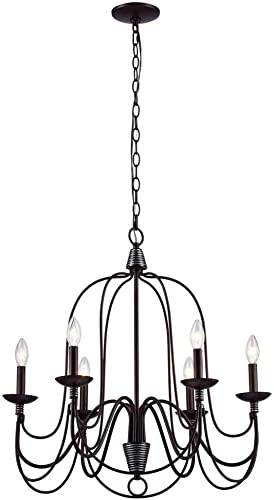 AA Warehousing L006MB Blakely 6 Light Matte Black Y Decor Chandeliers