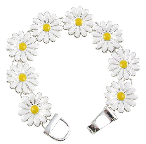 Enamel Watch Bracelet - Silver Tone Magnetic Clasp White and Yellow Enamel Daisy Flower Floral Charm Bracelet Women and Teens