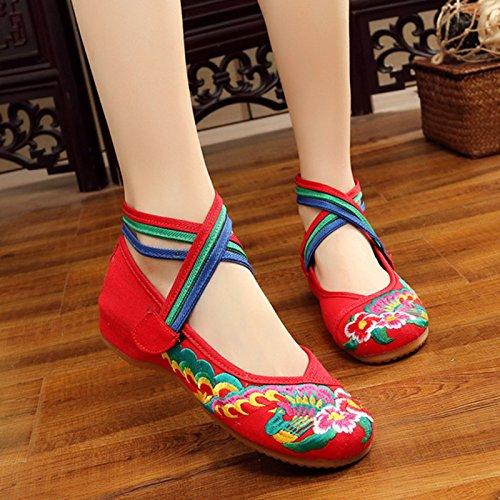 peacock Calzado Mujer red China Mujer amp;G Bordados Retro Casual Oxford Pisos Flores Zapatos NGRDX Zapatos De 67PHaW