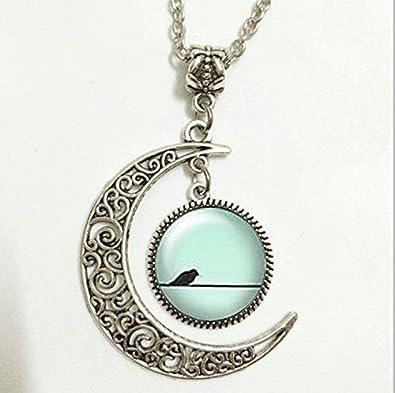 abbe101fb1b32 Amazon.com: Mint Bird Pendant, Birds On Wire Necklace, Summer Moon ...