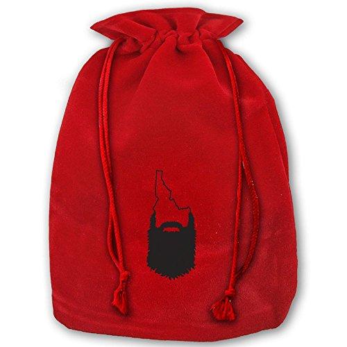 Idaho Beard Outline Red Christmas Drawstring Bags / Santa's Trouser Bag/ Christmas - Weed Outline Leaf