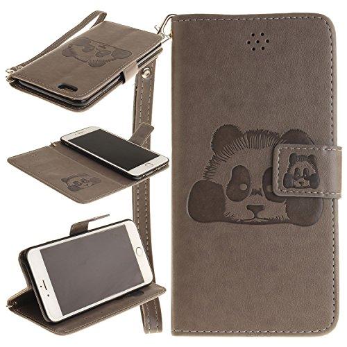 Für Apple iPhone 6 (4,7 Zoll) Tasche ZeWoo® Ledertasche Kunstleder Brieftasche Hülle PU Leder Schutzhülle Case Cover - TX020 / Panda (grau)
