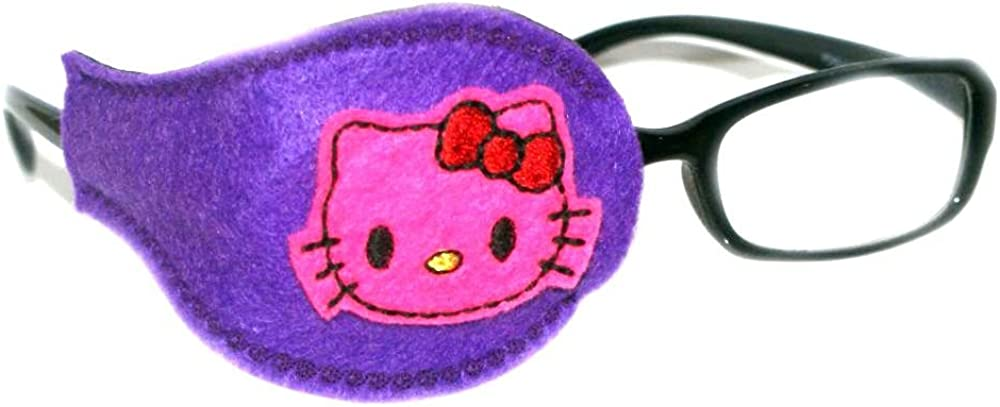 Kids and Adults Orthoptic Eye Patch For Amblyopia Lazy Eye Occlusion Therapy Treatment Design #31 Pink kitty on purple