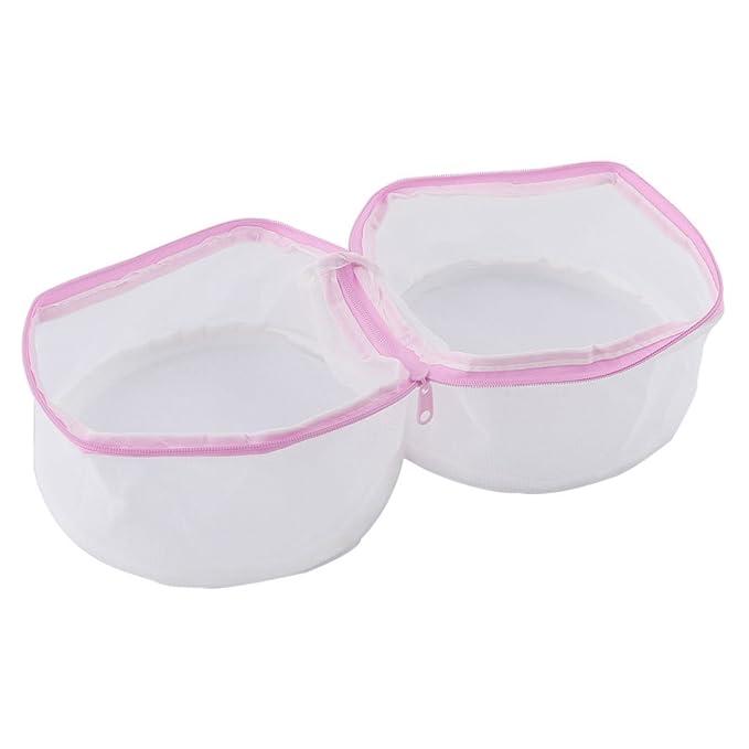 Amazon.com: eDealMax poliéster Familia Hogar Sujetador de la ropa Interior Underdress Lavadora Bolsa Rosa Blanco: Home & Kitchen