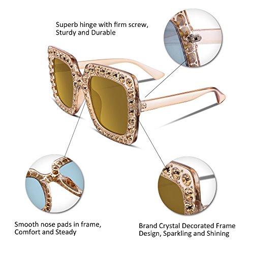 Donna Occhiali B2283 Oversize Cristalli Feisedy Da Scintillanti Beige Con Quadrata Spessa Cornice Sole OXkiTZuP