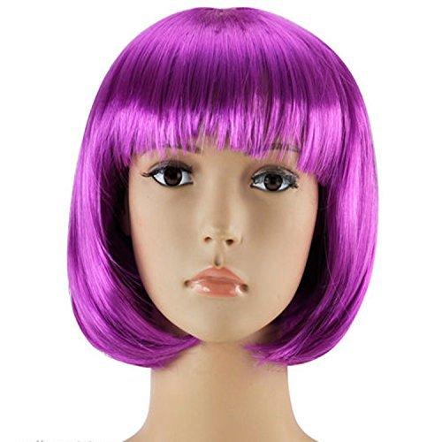 WOMENS LADIES SHORT BOB WIG FANCY DRESS COSPLAY WIGS POP PARTY COSTUME (Purple) by Red (Short Neon Purple Wig)