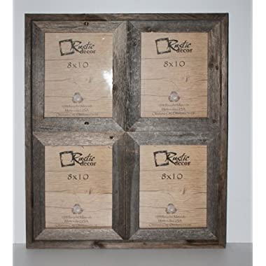 8x10 - 2.5  Wide Reclaimed Rustic Barnwood Collage Photo Frame - Holds 4 Photos