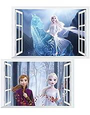 Kibi 2 stuks muurstickers Frozen slaapkamer kinderkamer Disney muursticker kinderkamer Frozen sticker muur Elsa en Anna