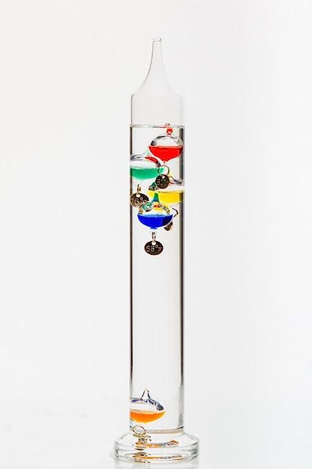 Glassic Gifts Termometro Galileo Altezza 27 9 Cm Amazon It Giardino E Giardinaggio El termómetro de galileo es un termómetro formado por un tubo de vidrio que contiene un líquido transparente con un coeficiente de dilatación mayor que el del agua. glassic gifts termometro galileo altezza 27 9 cm