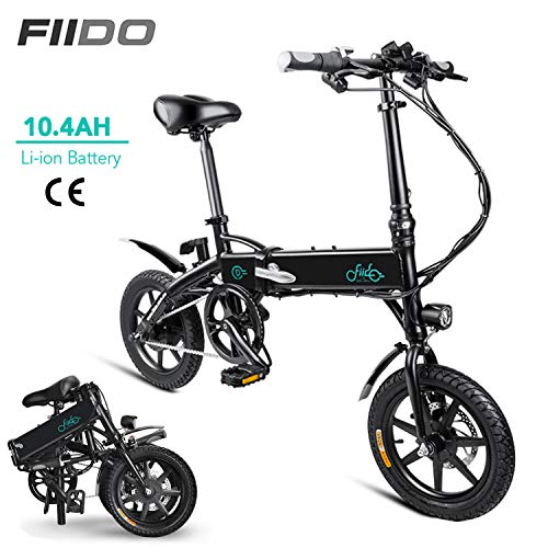DAPHOME FIIDO D1 Ebike, Foldable Electric Bike with Front LED Light for Adult (D1-10.4Ah - Black)