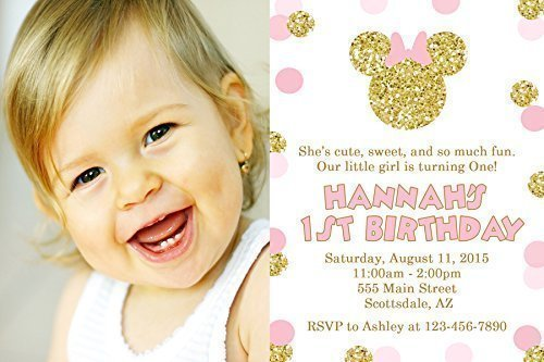 Minnie Mouse Birthday Party Invitations, Pink and Gold, Photo, Printed Personalized (Minnie Mouse Photo Birthday Invitations)