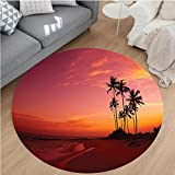 Nalahome Modern Flannel Microfiber Non-Slip Machine Washable Round Area Rug-h Photo over the Ocean Fantastic Hawaii Style Palm Trees at Sunrise Summer Wonderland Red area rugs Home Decor-Round 79''