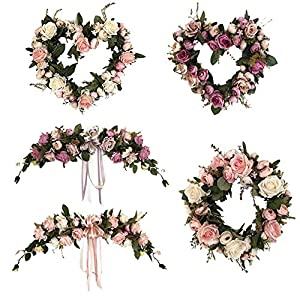 US-PopTrading Simulation Artificial Flower Plastic Bouquet Handmade Floral Rose Flowers Wreath for Home Ornaments Wedding Party Decoration 93