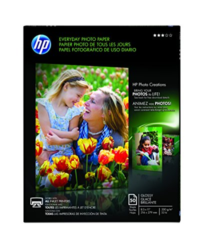 HP Everyday Photo Paper, Glossy, 8.5 x 11 Inches, 50 Sheets per Pack (Q8723AND) (Photo Everyday Paper Glossy)