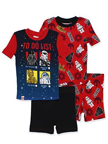 LEGO Star Wars Boys 2fer 4 Piece Cotton Pajamas Set (4, Black/Red)