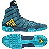 adidas Adizero Varner Men's Wrestling Shoes, Aqua/Yellow/Blue Size 11