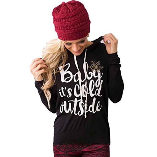 Kwok Womens Long sleeve Hoodie Sweatshirt Jumper Sweater Pullover Tops Coat (S, Black)