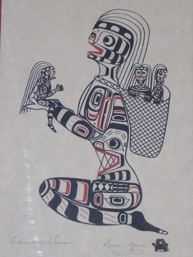 Art Signed Matted Print - CANNIBAL WOMAN Limited Edition 1979 print by Noreen Hunt, of the Kwakiutl nations. Print 8.5