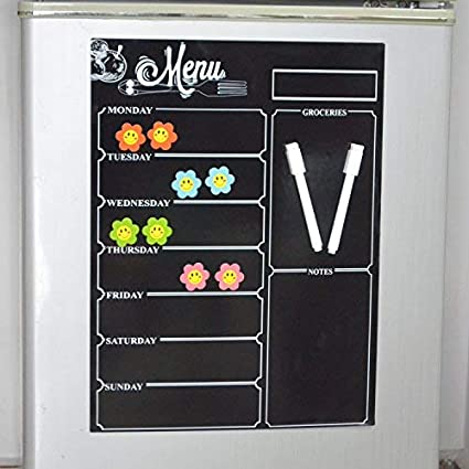 Seatrend Magnetic Menu Dry Erase Weekly Meal Planner Refrigerator Board with List and Notes (Menu Blackboard Included 400300mm)
