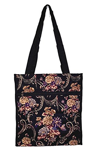 12 in by 13 in Tote Bag w/Mesh Water Bottle Pocket (Autumn Floral)