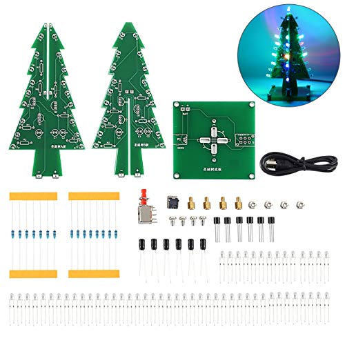 WHDTS RGB LED Flashing Christmas Tree DIY Kits Electronics Soldering Colorful 3D Xmas Tree DIY Module Funny Kits 1.6mm PCB Board for Soldering Practice Learning (Electronics Christmas For)