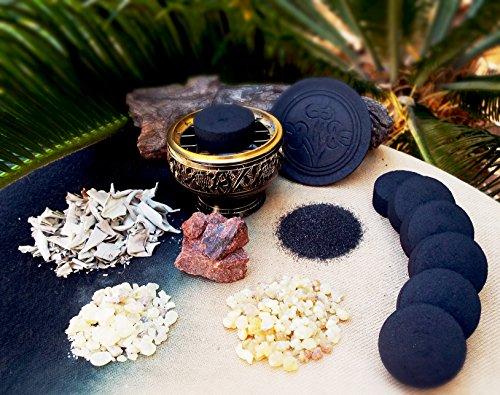 Incense Burner Kit Includes Brass Burner, Charcoal, White Sage Leaves, Frankincense, Dragon's Blood, Copel Incense Resins, Sand