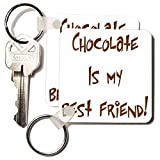 Sandy Mertens Chocolate Quotes - Chocolate Is My Best Friend - Key Chains - set of 2 Key Chains (kc_6015_1)