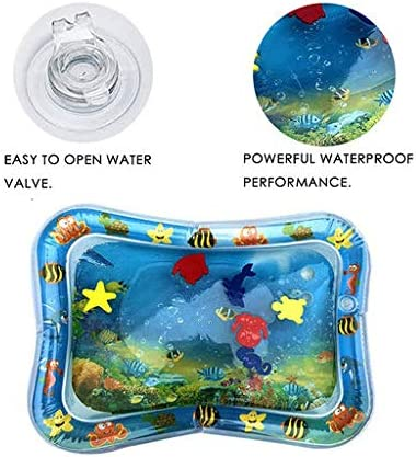 Lyperkin Inflatable Tummy Time Baby Water Play Mat for Infants Toddlers BPA Free Leakproof Activity Center for Newborns Engaging Fun Toys for Stimulation Growth 19x23 inch SW-04