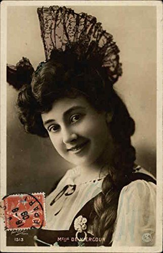 (A Young Lady with a Braid and Lace Hat Women Original Vintage Postcard)