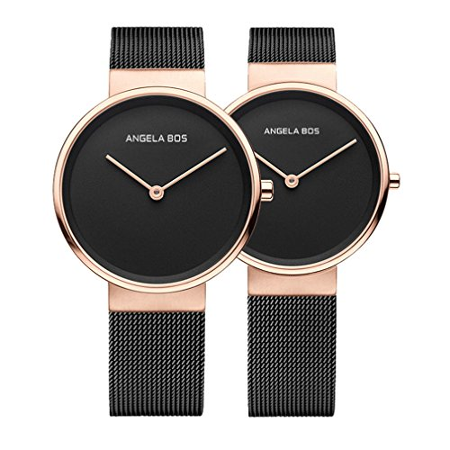 BOS His and Hers Ultra Thin Simple Stainless Steel Quartz Wrist Couple Watch for Lovers Bracklet 8010 by BOS