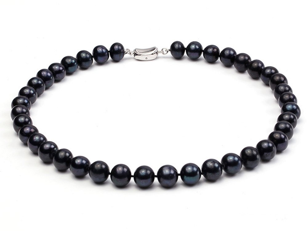"""JYX Classic 10-11mm Round Black Freshwater Cultured Pearl Necklace 18"""""""