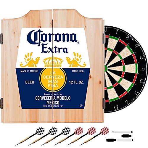 Officially Licensed Corona Design Deluxe Wood Cabinet Complete Dart Set by TMG