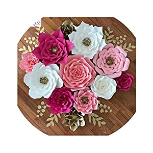 Wild-World DECOR 20cm DIY Paper Flowers Backdrop Decorative Artificial Flowers Wedding Favors Birthday Party Home Decoration 32