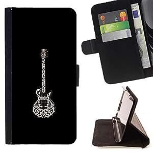 WHITE ROCK BEAUTIFUL GUITAR BLACK ART/ Personalizada del estilo del dise???¡Ào de la PU Caso de encargo del cuero del tir????n del soporte d - Cao - For Samsung Galaxy Note 3 III