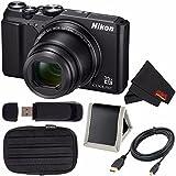 Nikon COOLPIX A900 Digital Camera (Black) 26501 International Model + Small Case + Micro HDMI Cable + SD Card USB Reader + Memory Card Wallet + MicroFiber Cloth Bundle