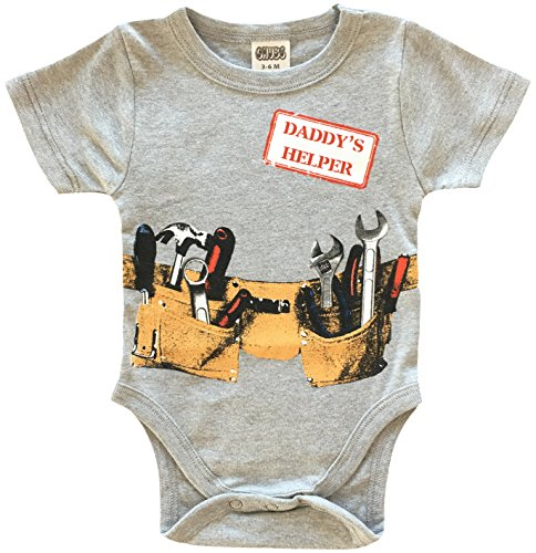 Daddys Little Helper Cute Boy Baby Clothes, Funny Baby Bodysuit (3-6M) by CHUBS (Image #2)