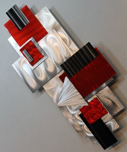 Silver Red Amp Black Geometric Abstract Wall Sculpture
