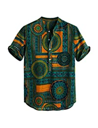 KASAAS Henley Shirts for Men, Vintage Print Button Up O-Neck Short Sleeve Casual Baggy Retro T-Shirt Tops