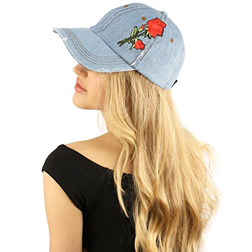 [Distressed Cotton Rose Floral Embroidery Baseball Sun Cap Dad Hat Denim Blue] (Denim Embroidered Cap)