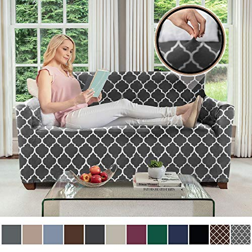 Gorilla Grip Original Velvet Fitted 1 Piece Loveseat Slipcover, Stretch Up to 54 Inches, Soft Velvety Couch Slip Cover, Spandex Loveseats Furniture Protector, with Fasteners, Quatrefoil Gray White (Loveseat A Cushion What Is T)