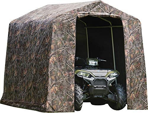ShelterLogic 8' x 8' Shed-in-a-Box All Season Steel Metal Peak Roof Outdoor Storage Shed with Printed Camouflage Cover and Heavy Duty Reusable Auger Anchors